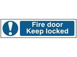 Fire door Keep locked, mini safety sign.