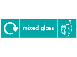 Mixed glass WRAP recycling signs