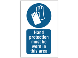 Hand protection must be worn in this area symbol and text safety sign.