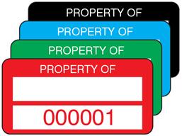 Property asset label, numbered, destructible