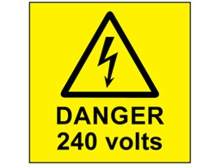 Danger 240 volts label