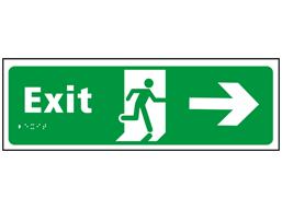 Exit, running man, arrow right sign.