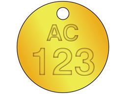 Custom circular brass valve tag natural lettering