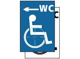 WC disabled, arrow left symbol sign.