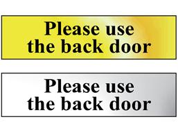 Please use the back door metal doorplate