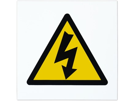 Electrical hazard symbol safety sign.