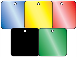 Coloured aluminium tags, 50mm x 50mm.