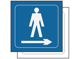 Gentlemen toilet, arrow right symbol sign.