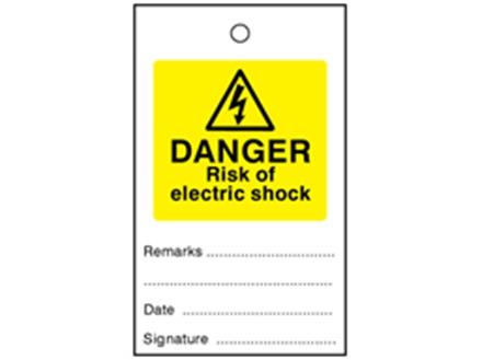 Danger risk of electric shock tag.