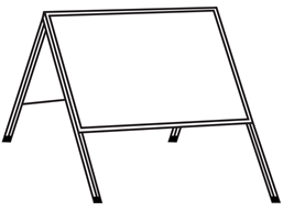Double sided rectangular frame for housing temporary road sign.