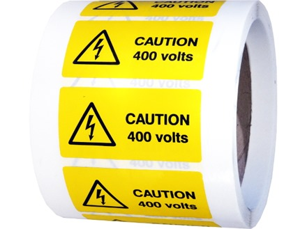 Caution 400 volts label.