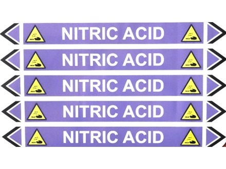 Nitric acid flow marker label.