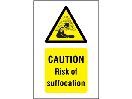 Caution Risk of suffocation symbol and text safety sign.