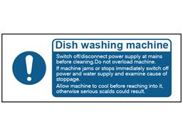 Dish washing machine safety label.