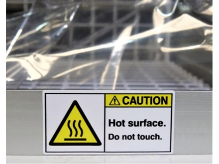 Caution hot surface do not touch label
