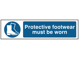 Protective footwear must be worn, mini safety sign.