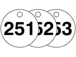 Plastic valve tags, numbered 251-275