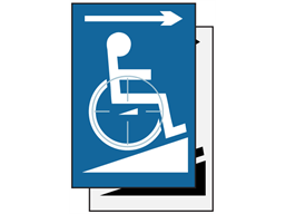 Disabled ramp symbol, arrow right sign.