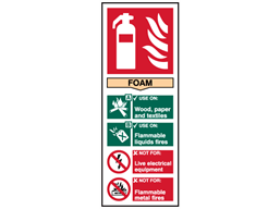 Foam fire extinguisher safety sign.