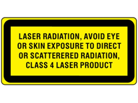 Laser radiation, avoid eye or skin exposure to direct or scattered radiation, class 4 laser equipment warning label.