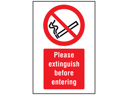 Please extinguish before entering symbol and text safety sign.