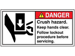 Danger crush hazard keep hands clear label