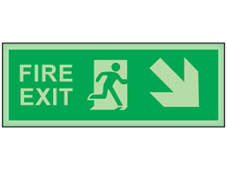 Fire exit, arrow diagonal facing the right and down photoluminescent safety sign