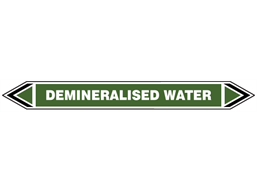 Demineralised water flow marker label.