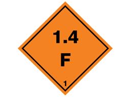 Explosive 1.4 F hazard warning diamond sign