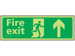 Fire exit arrow up photoluminescent sign.