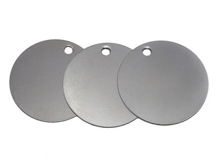 Blank stainless steel circular metal tags.