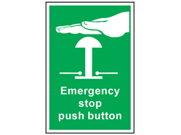 Emergency stop push button symbol and text safety sign.