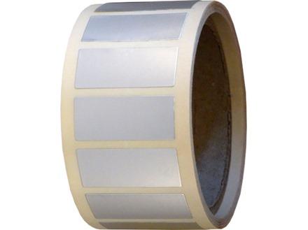 Blank aluminium foil labels.