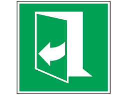 Pull to open (arrow left) sign.