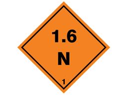 Explosive 1.6 N hazard warning diamond sign