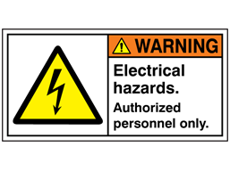 Electrical hazards. Authorised personnel only label