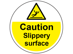 Caution slippery surface symbol and text floor graphic marker.
