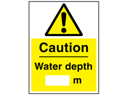 Caution water depth sign.