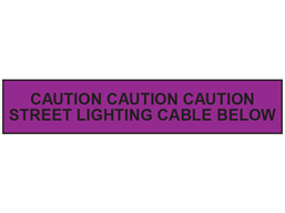 Caution street lighting cable below tape.