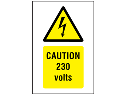 Caution 230 volts symbol and text safety sign.