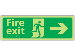 Fire exit arrow right photoluminescent sign.