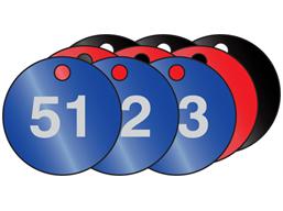 Coloured aluminium valve tags, numbered 51-75