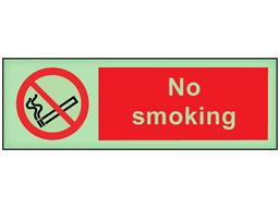 No smoking photoluminescent safety sign
