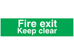 Fire exit Keep clear, mini safety sign.