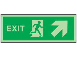 Exit, arrow diagonal facing the right and up photoluminescent safety sign
