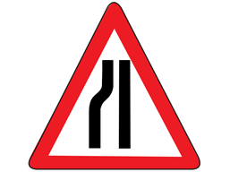 Road ahead narrows on left temporary road sign.