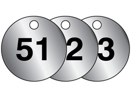 Aluminium valve tags, numbered 51-75