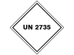 UN 2735 (Corrosives, fatty acids) label.