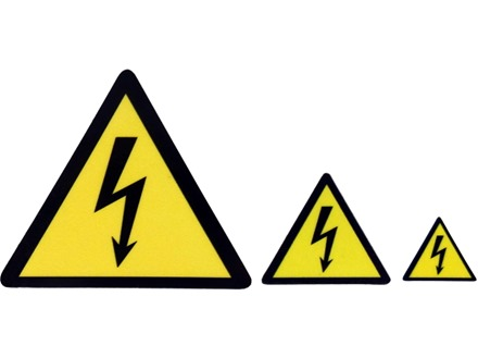 Electrical warning symbol label.