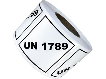 UN 1789 (Hydrochloric acid) label.
